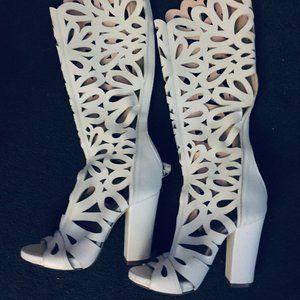 L'Estrosa Women's White luxury Italian boots